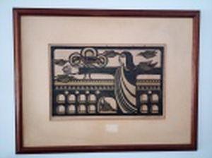 """SANDRA Santos (Recife, PE 1944) """"O Cristo e a Lapa"""" xilogravura colorida, 34/50, 38 x 58cm. Assinada, localizada e datada Rio 1979. Moldura sem o vidro e pequenos furos no papel, 72 x 82cm."""