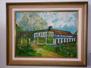 """Fernando QUADROS (Século XX) """"Casa de fazenda"""" óleo sobre tela, 54 x 73cm. Assinado frente e verso. Moldura 72,5 x 91,5cm."""