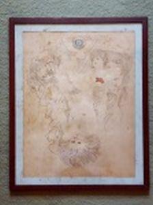 """ROBERTO - """"Figuras e olho azul"""" técnica mista sobre papel, 54 x 42cm. Assinado e datado 1976. Moldura envidraçada 64 x 52cm."""