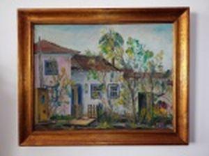 """Giancarlo ZORLINI (São Paulo, SP 1931) """"Casario"""" óleo sobre tela, 50 x 64cm. Assinado e datado 1981. Moldura 62 x 77cm."""