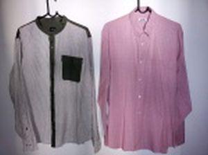 Duas camisas de mangas compridas: Giorgio Armani, tamanho XXG e Hermes - Paris, tamanho  42.