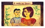 Míriam Inês da Costa Silva Cerqueira, dita Mirian (Trindade/GO, 1939 - Rio de Janeiro/RJ, 1996). O AMOR DO IRINEU. 1981. Óleo sobre madeira. 18 x 31 x 2,5 cm. Assinado Mirian - 81 (cid).
