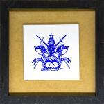 Miguel dos Santos (Caruaru/PE, 1944). CAVALEIRO MEDIEVAL. 2014. Pintura sobre azulejo. 15,5 x 15,5 cm (o azulejo); 28,5 x 28,5 cm (a peça). Assinado Miguel dos Santos 14. Emoldurado.