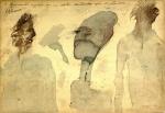 Artur Barrio (Porto, Portugal, 1945). 3 MOVIMENTOS RÁPIDOS EM UM SONHO ACONTECIDO APÓS O ALMOÇO. 2000 C. Técnica mista sobre papel colado em eucatex. 21 x 31 cm. Titulado e assinado A. A. Barrio (cse). Como parte do projeto Objetos Diretos, em que artistas consagrados vendiam pequenos trabalhos para popularizar sua obra, o presente trabalho foi adquirido no ano 2000 na Galeria Paulo Fernandes (Rua do Rosário, 38, Rio de Janeiro/RJ).