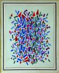Milton Ribeiro (1922-2014). O PEQUENO ARQUITETO #10 - IMPLOSÃO. 1992. Óleo sobre tela. 100 x 80 cm (mi); 113 x 94 cm (me). Assinado e datado Milton Ribeiro 92 (cid). Titulado, assinado e datado no verso. Sobre a obra: Titulado, assinado, datado e localizado no verso. Inspirada no brinquedo infantil, O Pequeno Arquiteto é a série mais longa da alentada obra do modernista Milton Ribeiro e se constitui na sua principal e mais duradoura pesquisa estética. Iniciada ainda na década de 1960, combina o rigor geométrico com uma grande riqueza cromática. Essas duas obras em questão fazem parte do segmento mais elaborado cromaticamente da série, quando o pintor incorporou outros elementos lúdicos como, no caso presente, o circo.