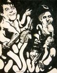 """Jorge de la Vega (Argentina, 1930-1971). SEM TÍTULO. 1967. Nanquim sobre papel. 43 x 34 cm. Assinado de la Vega 67 (cie). Sem moldura. Juntamente com os três demais intregrantes do grupo então batizado """"Otra Figuracion"""" - Ernesto Deira, Luiz Felipe Noé e Rômulo Macció -, Jorge de la Vega expôs em 1963 na Galeria Bonino, no Rio de Janeiro. O grupo retornou à cidade, desta feita no MAM, para nova exposição, em meados de 1965, anterior portanto à exposição nacional Opinião 65, sobre a qual exerceram forte influência, acabando por estender essa influência sobre toda a pintura moderna brasileira dos anos seguintes - leia-se Nova Figuração Brasileira. Multiartista, de la Vega está representado em diversas coleções particulares e museus pelo mundo, com destaque para o Museu de Arte Moderna de Nova York (MoMA). Raridade."""