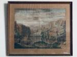 Quadro Litografia Aquarelada 'La Gran Cascata del Teverone a Tivoli' - Pierre Mortier. Med. 57x68 cm.