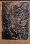 Lívio Abramo, (Araraquara, São Paulo, 1903 - Assunção, Paraguai 1992). litografia sobre papel de arros oferecida cordialmente para Edmar Morel, assinada e datada de 6  6  945 medida interna 21 cm por 15 cm e total emoldurado de 52 cm por 37 cm.