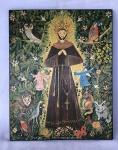 Rosina Becker do Valle (Rio de Janeiro, 1914  2002) Pintura a óleo sobre madeira de São Francisco de Assis  datada de 1973 medindo 32 cm por 26 cm.