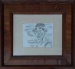 """Oswaldo Goeldi atribuído, aguada de Nanquim sobre papel """"pescador"""", medida interna 21 cm por 28 cm e a medida externa 58 cm por 66 cm belissimamente emoldurado em Pinho de Riga."""