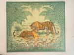 QUADRO - HERMES (França - Paris) - Grande tela em sarja de seda, decorada com fauna e flora. Med. 148x172 cm.