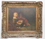 QUADRO - OST - representando crianças e com linda moldura antiga em madeira com rica douração. Med. 40x54 cm e 69x77 cm. Apresenta 2 furos na tela.