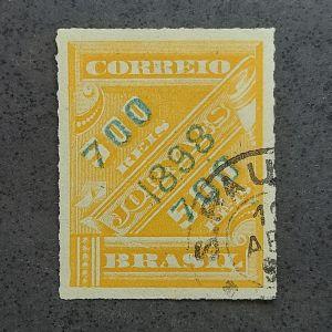 Jornais Sobreestampados - 700/500 réis - verde claro/laranja - raro - catálago marca R$1.800,00