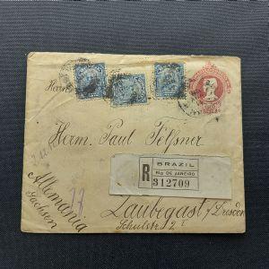 Inteiro Postal de 100 réis com 3 selos adicionais de 200 réis proceres tipo Marechal Floriano