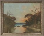 CLODOMIRO AMAZONAS (São Paulo, 1883 / Idem, 1953) - Rara obra em óleo sobre tela, representando paisagem com rio, protegida por moldura em madeira de lei patinada, assinada no canto inferior esquerdo. Medida total 90 x 75 cm. Medida da obra 79 x 63 cm.