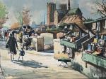 SEGUIE - Graciosa aquarela dos anos 1950, representando cena de rua em Paris com a Catedral Notre-Dame ao fundo, protegida por antiga moldura de época, paspatur e vidro transparente. Medida total 43 x 36 cm. Medida da obra 29 x 23 cm.