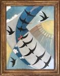 GIULIO DANNA (Villarosa, Itália, 1908 / Messina, Itália, 1978) - Fabulosa e rara obra em óleo sobre placa, representando pássaros, protegida por elegante moldura em madeira patinada em ouro velho. Assinada na base e datada 1930. Medida total 67 x 53 cm. Medida da obra 58 x 44 cm.