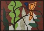 GENARO DE CARVALHO (Salvador, 1926 / idem, 1971) - Graciosa obra em óleo sobre tela, de estilo contemporâneo, protegida por moldura baguete, assinada no canto inferior e verso. Mede 70 x 50 cm.