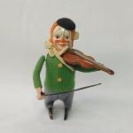 Brinquedo antigo Schuco - Palhacinho ou Palhaço violinista a corda - Fabricado na década de 40 na Alemanha pela afamada Schuco - Funcionando a corda (veja o vídeo) não acompanha chave de corda