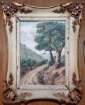 AUGUSTO BRACET ( RJ 1881/1960 ) - Óleo s/ tela 46 x 34 cm - Paisagem, ass. inf. direito e datado 1944. Moldura de época, med. total 66 x 54 cm.
