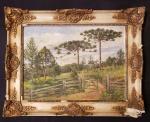 AUGUSTO BRACET ( RJ 1881/1960 ) - Óleo s/ madeira 27 x 34 cm - Paisagem com araucárias, ass. inf. direito e datado 1947. Moldura de época, med. total 38 x 46 cm.