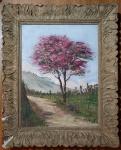 AUGUSTO BRACET ( RJ 1881/1960 ) - Óleo s/ tela 42 x 31 cm -  Paisagem com Flamboyant, ass. inf. direito. Moldura de época, med. total 53 x 42 cm.