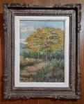 AUGUSTO BRACET ( RJ 1881/1960 ) - Óleo s/ madeira 39 x 29 cm -  Paisagem com Acácia, ass. inf. esquerdo e datado1959. Medida com moldura  54 x 43 cm. Pequenas perdas de matéria na pintura).