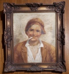 DE ANGELIS (1853 - 1900) - Óleo s/tela 44 x 36 cm - Retrato de jovem fumando, ass. inf. direito. Medida com moldura 58 x 50 cm. Apresenta rasgo na tela e necessita de restauro.