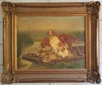 ASSINATURA ILEGIVEL - Óleo s/ tela 36 x 47 cm - Cães de caça, ass. inf. direito e datado 1855. Medida com moldura 55 x 65 cm. Precisa de limpeza.