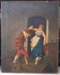 ESCOLA de Fritz Bamberger (1814 - 1873)  Espadachim - Óleo s/ tela 51 x 41 cm No estado. Sem moldura. sem assinatura.