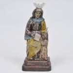 Sant'Ana Mestra - Imagem brasileira séc. 18 em madeira policromada de época - medida 35 x 15 x 12 cm. Apresenta coroa de prata filigranada recente.
