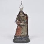 Sant'Ana Mestra - Imagem brasileira séc. 18 em madeira policromada de época - medida 28 x 15 x 11 cm. Apresenta coroa de prata filigranada recente.