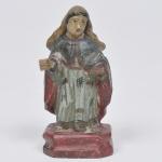 Nossa Senhora  -MINIATURA - imagem em madeira policromada, Brasil séc. XIX. Medida 11 cm.