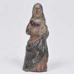Nossa Senhora  - MINIATURA - imagem em madeira policromada, Brasil séc. XVIII. Medida 9 cm.  No Estado