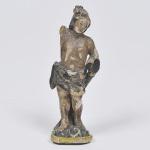São Sebastião - MINIATURA - Antiga imagem em madeira policromada. No Estado. Medida 12 cm.