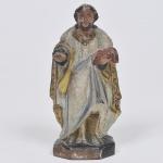 São José - MINIATURA - Imagem de madeira policromada séc. XIX. Medida 16 cm.