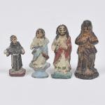 Coleção de 4 miniaturas antigas de imagens sacras.