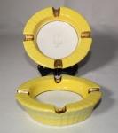 Vintage - dois cinzeiros de porcelana Rio Branco, monograma JC. Medida 13 x 4 cm.