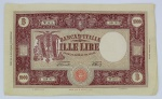 Numismática - Itália 1947 - Rara Grande Nota 1000 Lira, Grande M, Medusa. Muito bom estado.