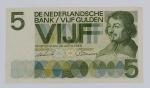 Numismática - Cédula de 5 Gulden 1966, Vondel. Em muito bom estado.