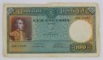 Numismática - Cédula de 100 Escudos ouro, Banco de Portugal 1941. Possui amassados nas bordas.