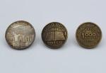 Numismática - Lote composto por 3 Moedas brasileiras  1 de 5000 Réis 1936 Santos Dumont (BC), 1 de 1000 Réis 1938 José de Anchieta (BC) e 1 de 1000 Réis 1939 Tobias Barreto (MBC).