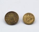Numismática - Lote composto por 2 Moedas brasileiras  1 moeda de Bronze-Alumínio - 500 Réis 1922, 1º Centenário da Independência (MBC) e 1 moeda de Bronze-Alumínio de 1000 Réis  1927.