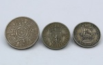 Numismática - Lote composto por 3 moedas do Reino Unido  1 de 1 Shilling  1948 (Soberba), 1 de 1 Shilling  1957 (MBC) e 1 de 2 Shillings  1957 (MBC).