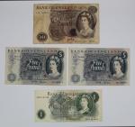 Numismática - Lote composto por 4 cédulas Inglesas  1 de 10 Pounds JB Page (1970 -1975), 2 de 5 Pounds JB Page (1970  1971) e 1 de 1 Pound JS Fforde (1966  1970). No estado.