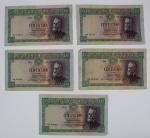 Numismática - Lote composto de 5 cédulas de 100 Escudos de 28 Outubro 1947 Pedro Nunes. No estado.