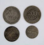 Numismática - Lote contendo 4 moedas brasileiras, sendo: 2 de 200 Réis 1889; 1 de 5000 Réis Santos Dumont e 1 de 200 Réis 1936 Barão de Mauá.