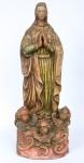NOSSA SENHORA DA CONCEIÇÃO - Alt. 78 cm, antiga imagem em madeira com policromia, belo planejamento em sua confecção, base se encontra  três cabeças de anjos entre volutas.