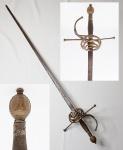 Rara e antiga espada Rapieira ou Rapier  - Medindo 98 cm.  séc. XVI/XVII. Este modelo era usado na Espanha, Itália e Portugal no período Medieval até a Renascença.