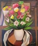 E. DI CAVALCANTI, Vaso com flores - Óleo sobre tela - 65x54 cm - ACID  e VERSO